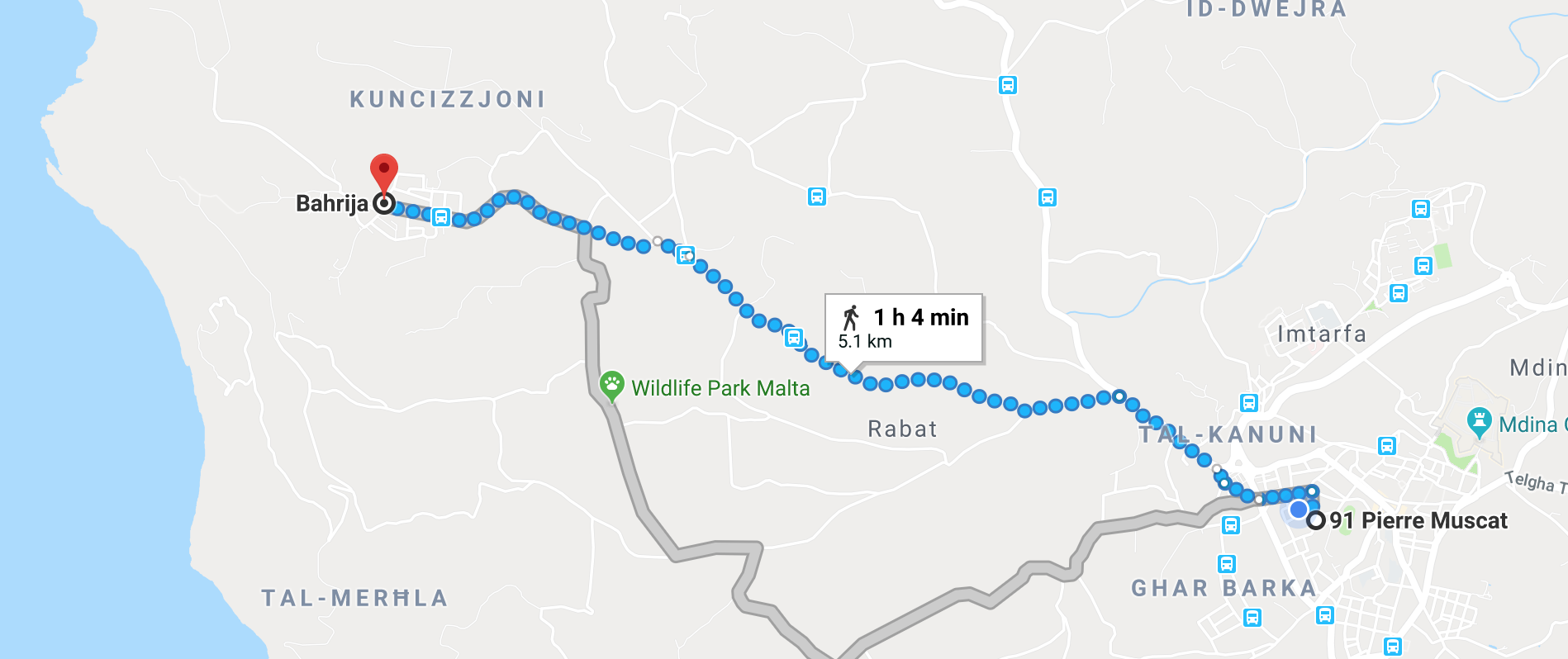 Directions to Bahrija